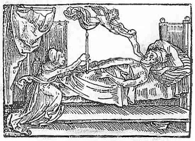 Angel of Death taking the soul of a dying man; from Reiter's Mortilogus, 1508