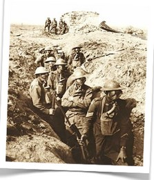 WWI troops waiting in trench