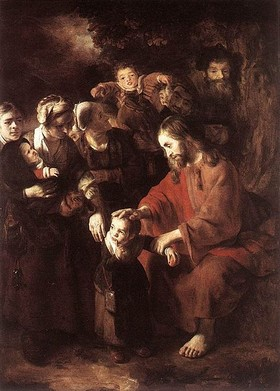 Jesus blessing a child, by Nicolaas Maes