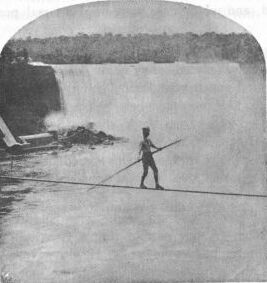 man on highwire crossing Niagara Falls