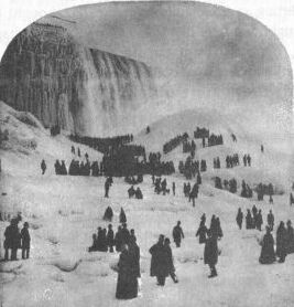 crowd on frozen river below Niagara Falls