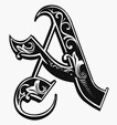 calligraphy gothic letter A