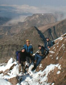 Bob Fergeson, far right, climbing in Colorado
