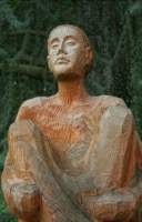 wood-carved contemplative, Mainau Island
