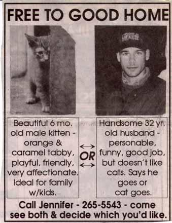 newspaper ad: husband or cat