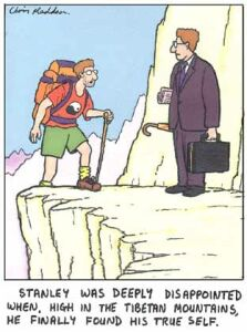 cartoon of finding the self in the mountains